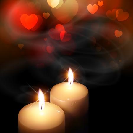 bougie coeur: fond de la Saint Valentin avec des coeurs et des bougies