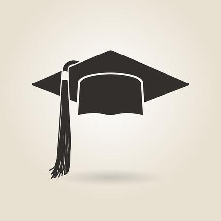 Ikona czapka absolwenta na jasnym tle