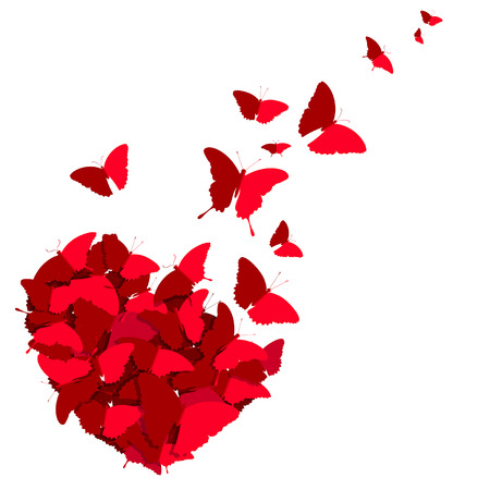 red heart of butterflies on a white background