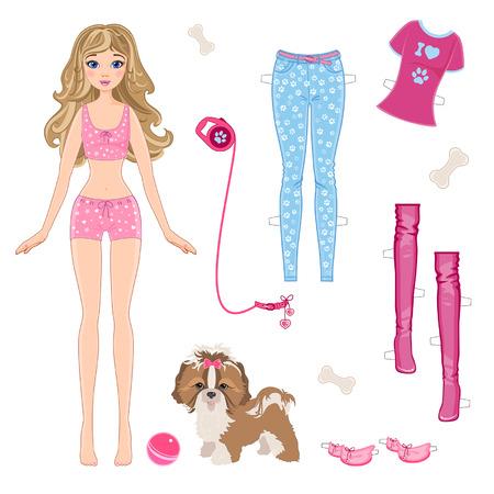 Muñeca de papel con la ropa y un pequeño perro