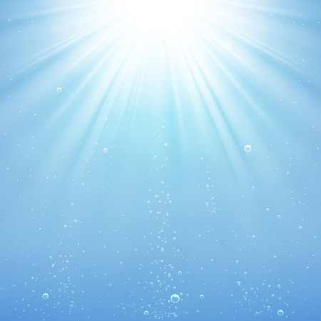 water bubbles: background rays of light under water Illustration