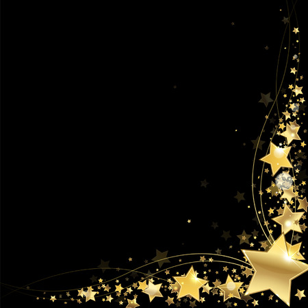 glistening: frame of gold stars on a black background