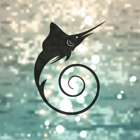 swordfish: Marlin fish on the sea background Illustration