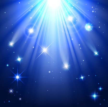 rays light: stars with rays of light in the night sky Illustration