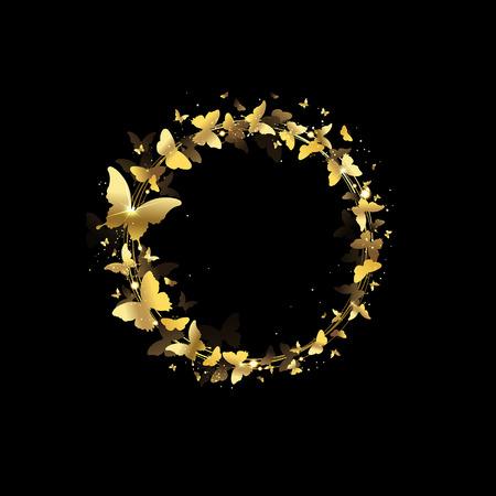 mariposas volando: corona de mariposas sobre un fondo negro Vectores