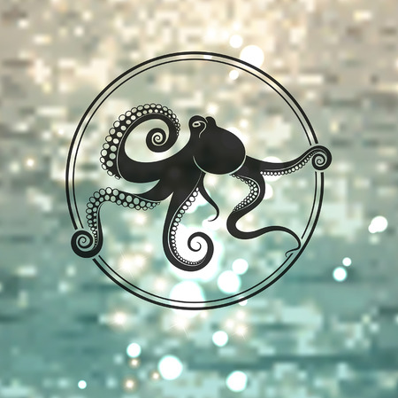 black octopus: octopus logo on the sea background