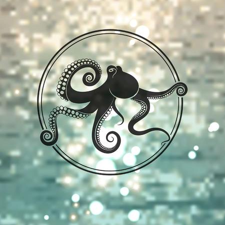 logo poisson: poulpes logo sur le fond de la mer Illustration