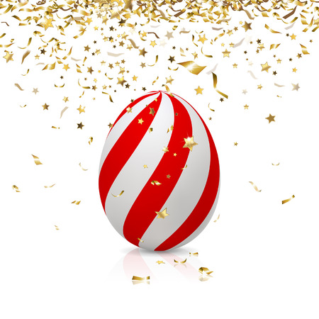 gold banner: easter egg with gold confetti