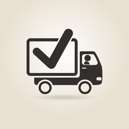 moving truck: icon truck on a light background