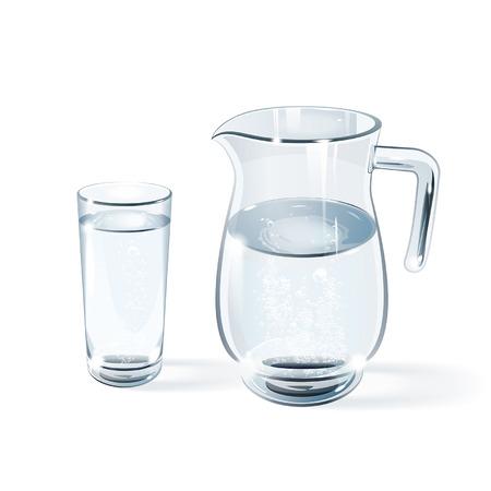 glas water en de glazen kruik op een witte achtergrond Stock Illustratie