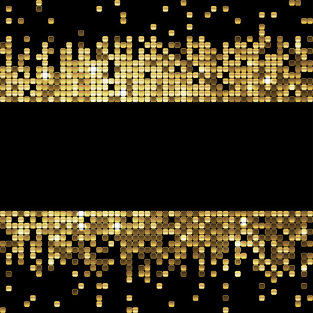 lights background: sparkling gold sequins on a black background