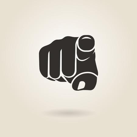 gesto que señala el dedo sobre un fondo claro Ilustración de vector