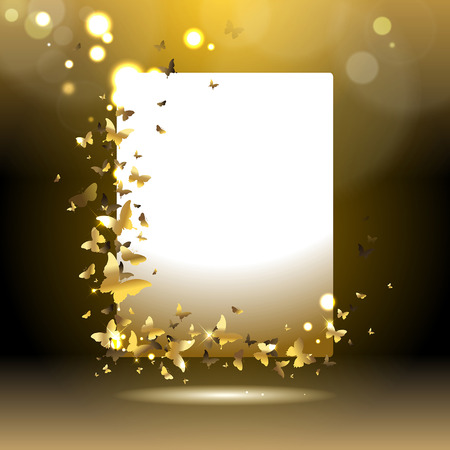 banner with gold butterflies on a dark background Stock Illustratie