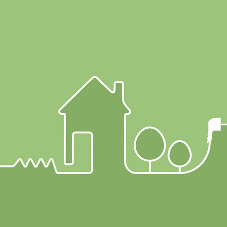 electrical cables: electric wire with plug showing house on a green background