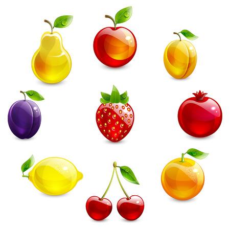 fruta tropical: conjunto de fruta brillante sobre un fondo blanco Vectores