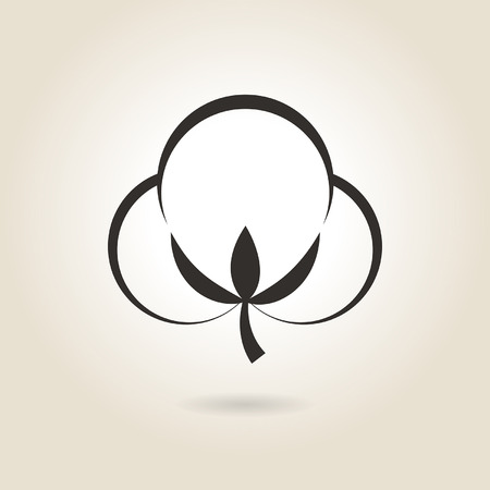 boll: icon cotton flower on a light background
