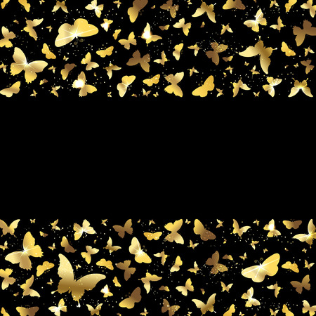 exhilaration: banner with gold butterflies on a black background