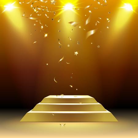 premios: podio en los rayos de luz con confeti