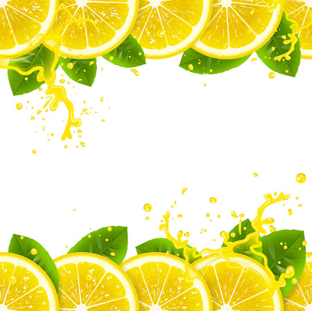banner with fresh lemons and splashes of juice