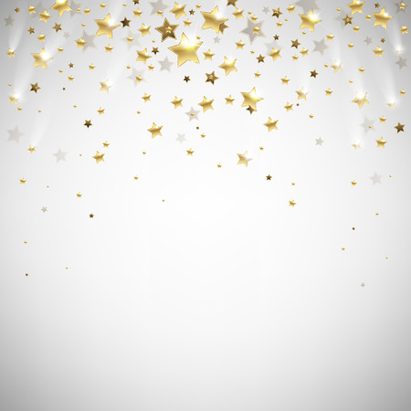 golden falling stars on a light background Vectores