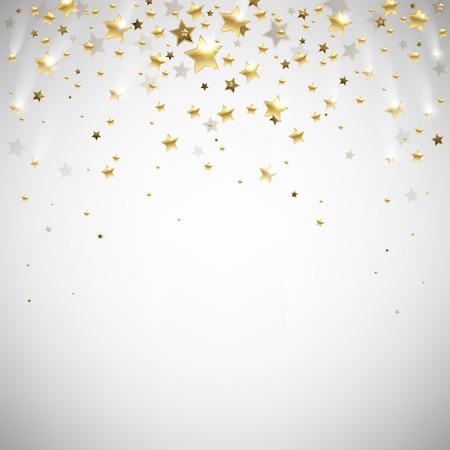 golden falling stars on a light background Stock Illustratie