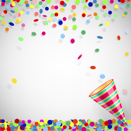 party poppers: colorful confetti with party poppers on a light background