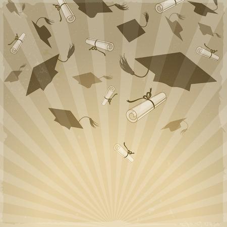 GRADUADO: Casquillos de la graduación y diplomas en los rayos
