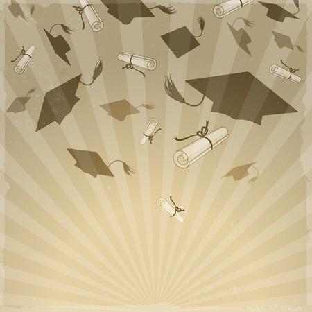tossing: Graduation caps and diplomas on rays