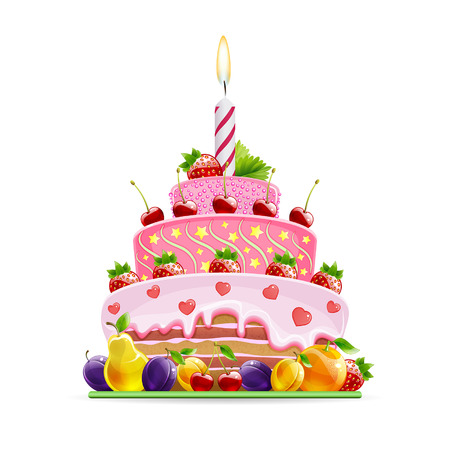 bright cake: cake with bright fruit on a white background