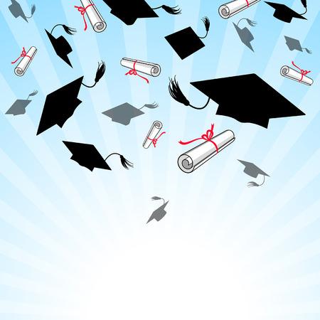 卒業帽を青空に投げる