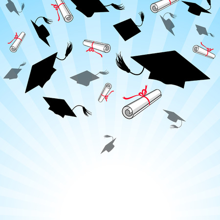 graduacion: Casquillos de la graduación tiran en el cielo azul