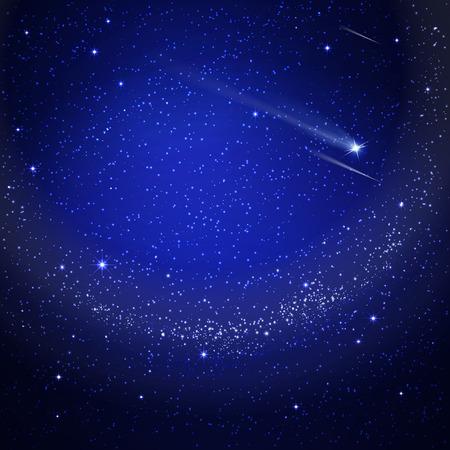 sterrenhemel met een vallende ster Stock Illustratie