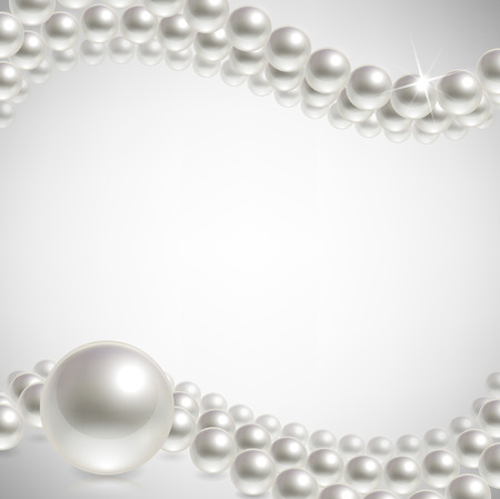 pearl necklace: pearls on a light background