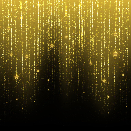 nighttime: Golden starry rain on a dark background