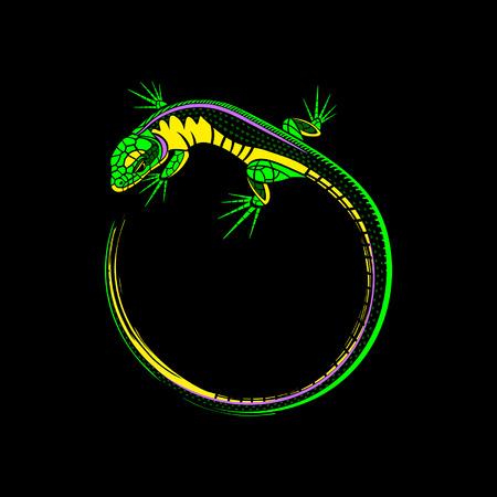 lizard logo on a black background