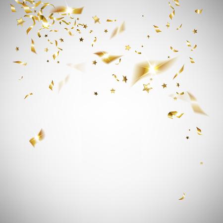 sorpresa: confeti de oro sobre un fondo claro