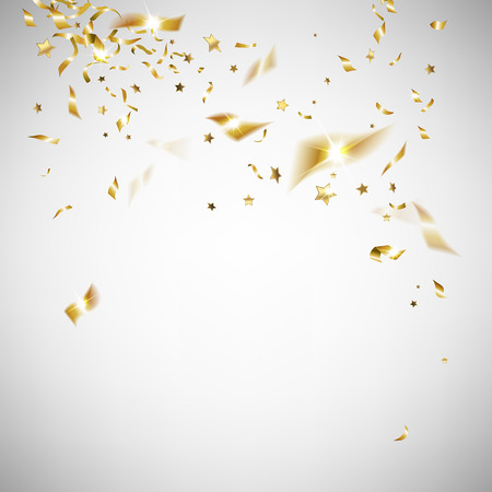 golden confetti on a light background