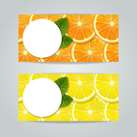 horizontal: set of banners with orange, lemon