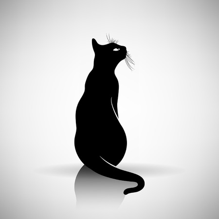 black outline: stylized silhouette of a cat on a light background