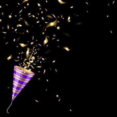 fiesta: popper del partido con confeti de oro sobre un fondo negro