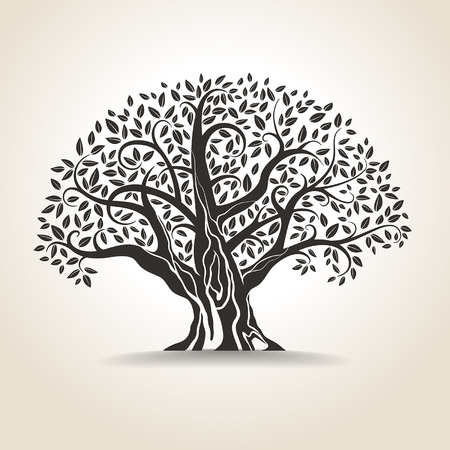 arbres silhouette: vieil arbre sur un fond clair Illustration