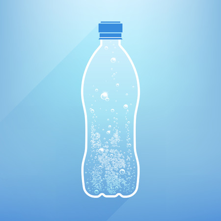 close: bottle water with bubbles