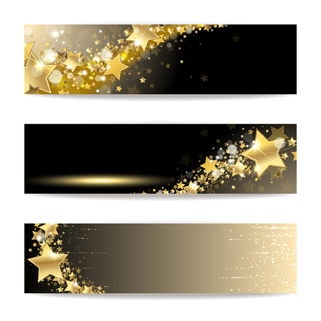star award: Set of banners with gold stars on a dark background