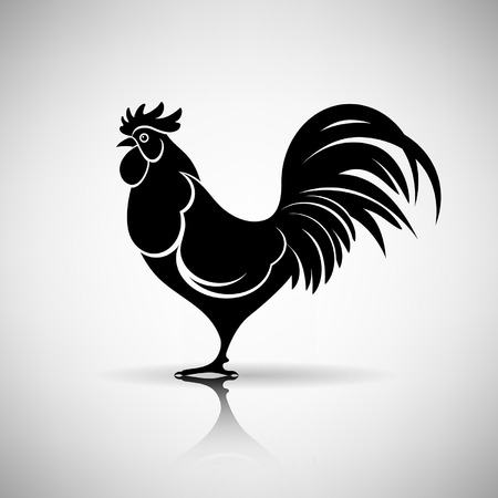 roosters: stylized rooster on a light background