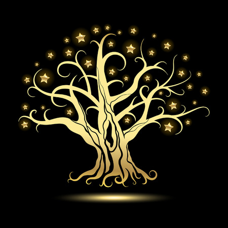 abstract tree: golden tree with stars on a black background