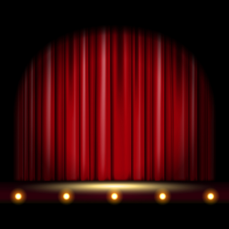 theatrical scene with red curtain