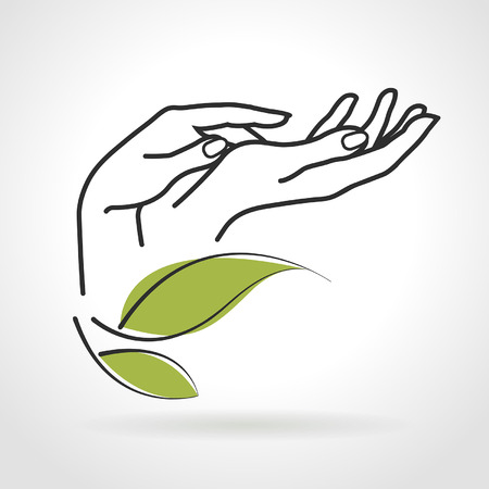 logo informatique: mains des femmes qui prennent soin d'eux sur un fond blanc