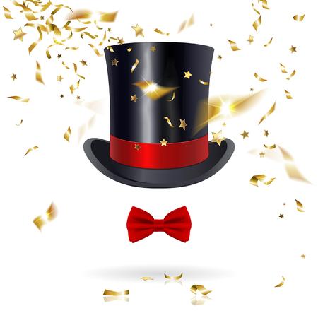 cappelli: cappello a cilindro con farfallino e coriandoli su uno sfondo bianco