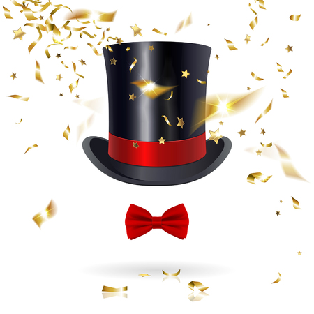 black and white image: cylinder hat with bow tie and confetti on a white background