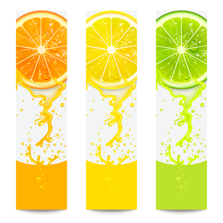 fruit juices: banners with fresh citrus fruit on a white background